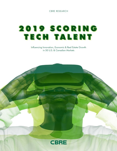 Cover of 2019 CBRE Scoring Tech Talent Report